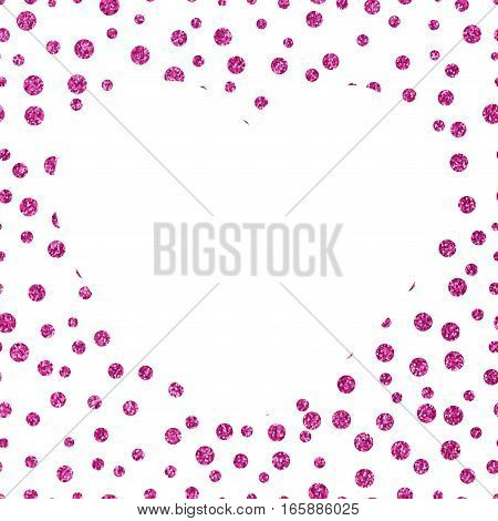 Pattern of small pink dots scattered on a white background Shining glittery background with chaotic dots of different sizes and the big white heart Theme and Valentines Day Idea for greetings