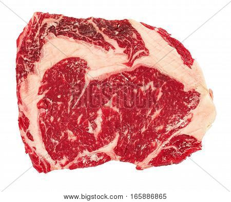 Raw Beef Rib Eye Steak Isolated On White Background