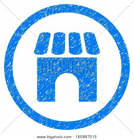 Rounded Shop Building rubber seal stamp watermark. Icon symbol inside circle with grunge design and dust texture. Unclean vector blue sign.