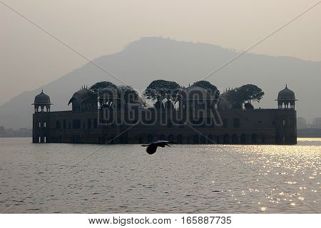 Jalmahal Summer Palace situated in the middle of lake at Jaipur Rajasthan India Asia