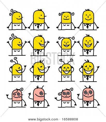 hand drawn cartoon characters - happiness