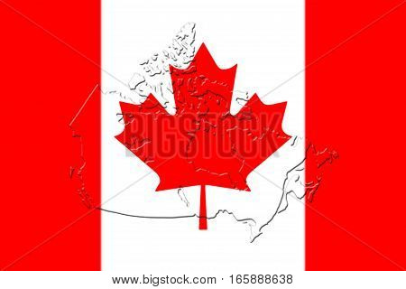 Canadian National Flag With Map Of Canada On It 3D Rendering