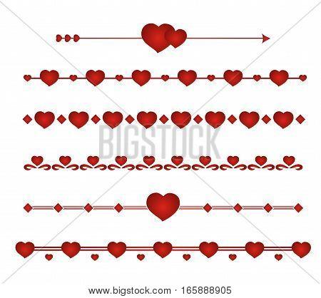 Border vector heart. Symbol valentines day. Set border wedding.