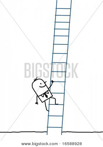 hand drawn cartoon characters - businessman climbing up