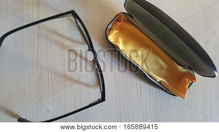 Top view on office desk table with glasses