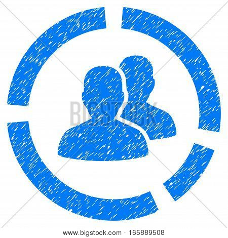 Demography Diagram grainy textured icon for overlay watermark stamps. Flat symbol with dirty texture. Dotted vector blue ink rubber seal stamp with grunge design on a white background.