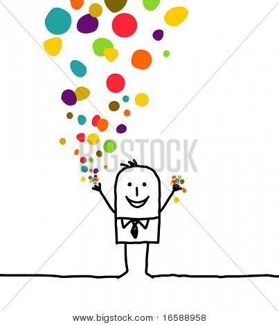 hand drawn cartoon character - man & confetti