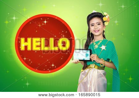 Traditional Thai Girl Child With Hello Text.