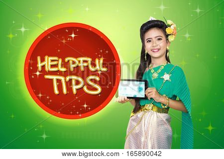 Traditional Thai Girl Child With Helpful Tips Text.
