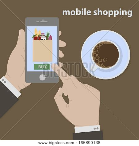 Shopping in online store. Internet shopping. Process of mobile shopping of food with cup of coffe