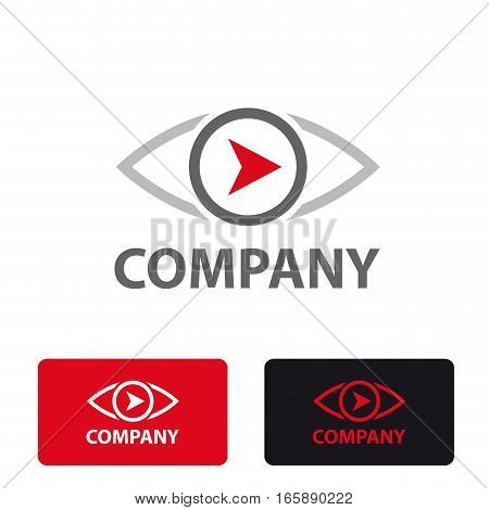 Vector stylized sign eye and arrow, three logo isolated
