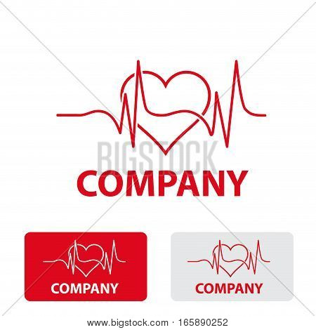 Vector stylized sign heart cardiologist, three logo isolated