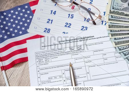 Presidential Election 2016. registration form flag and money