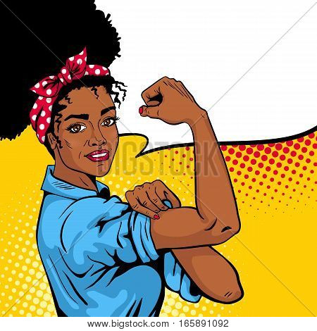 We Can Do It poster. Pop art sexy strong african girl with speech bubble. American symbol of female power woman rights protest feminism. Vector bright hand drawn background in retro comic style.