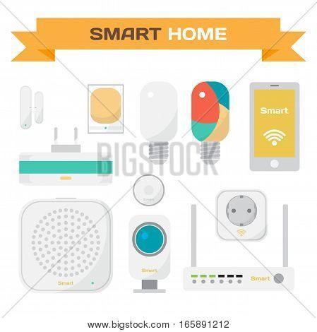Set of equipment for the smart home. Motion sensors, opening doors, video surveillance, socket, lamp, router. Vector flat cartoon illustration.
