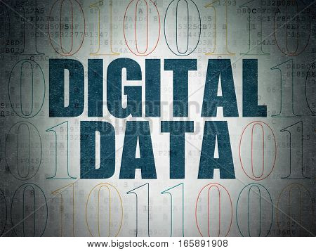 Information concept: Painted blue text Digital Data on Digital Data Paper background with Binary Code