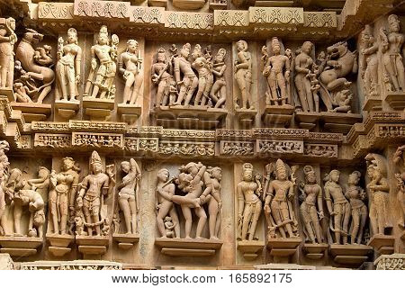 Sculptured wall panel at Lakshman Temple under Western Group of Temples in Khajuraho Madhya Pradesh India Asia