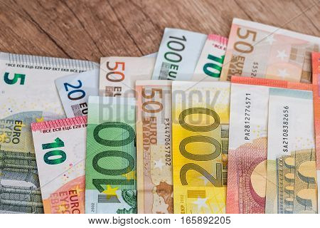 current Euro banknotes as background 10 20 50 100 200