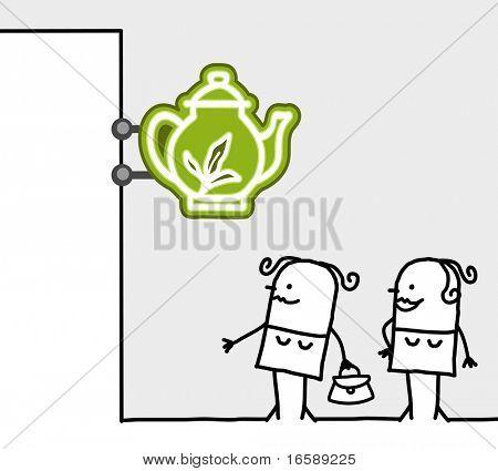 hand drawn cartoon characters - consumer & shop sign - tearoom