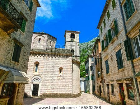 The narrow street in Kotor in a beautiful summer day, Montenegro