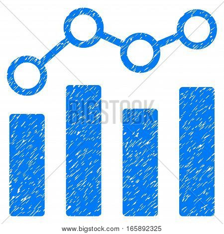 Point Chart grainy textured icon for overlay watermark stamps. Flat symbol with dirty texture. Dotted vector blue ink rubber seal stamp with grunge design on a white background.