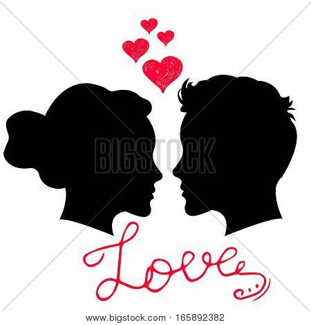 Man and woman face silhouette on white background. Man and woman in love. Saint Valentine Day card with hand lettering phrase Love.