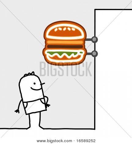 hand drawn cartoon characters - consumer & shop sign - fast food