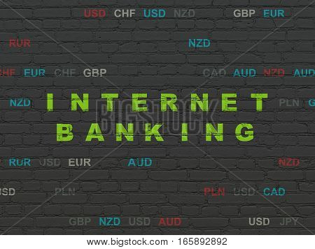 Currency concept: Painted green text Internet Banking on Black Brick wall background with Currency