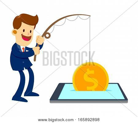 Vector stock of a businessman catch big gold coin with a fishing pole from mobile phone