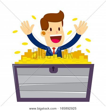 Vector stock of a businessman in a wooden chest filled with gold coins wealthy concept