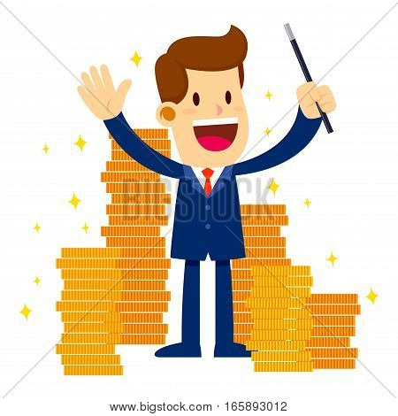 Vector stock of a businessman holding magic wand surrounded with lot's of gold coins