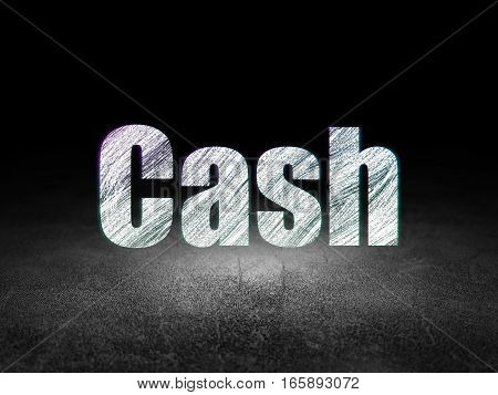 Banking concept: Glowing text Cash in grunge dark room with Dirty Floor, black background