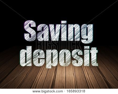 Money concept: Glowing text Saving Deposit in grunge dark room with Wooden Floor, black background