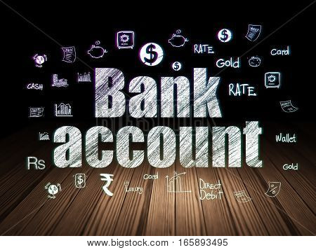 Currency concept: Glowing text Bank Account,  Hand Drawn Finance Icons in grunge dark room with Wooden Floor, black background