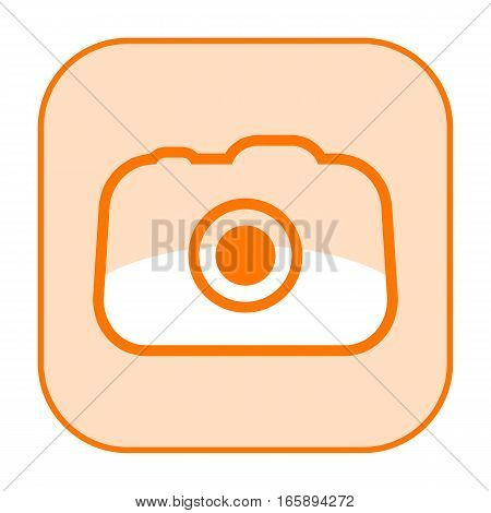 Photo camera orange icon isolated on white background
