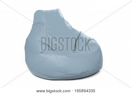 Left side view of nice new and soft blue beanbag isolated on white background
