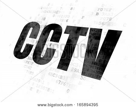 Privacy concept: Pixelated black text CCTV on Digital background