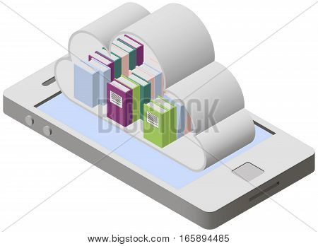 Mobile library on screen smartphone in isometric style. Clouds technology for education. Cloud shape of library on smartphone screen.
