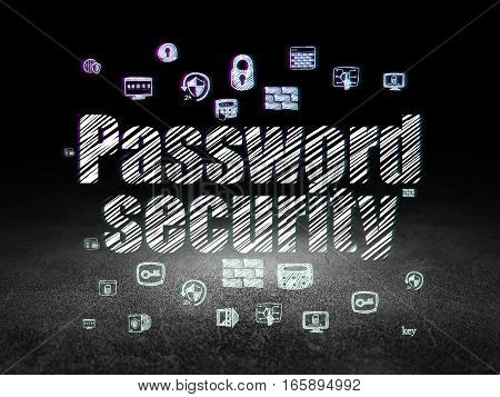 Security concept: Glowing text Password Security,  Hand Drawn Security Icons in grunge dark room with Dirty Floor, black background