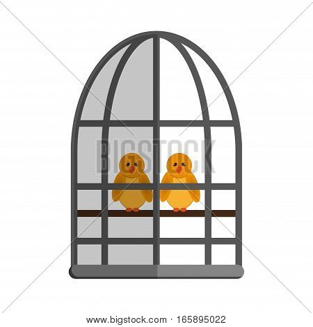 birds in a cage cartoon icon over white background. colorful design. vector illustration