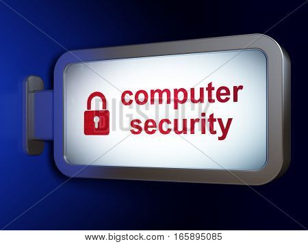 Safety concept: Computer Security and Closed Padlock on advertising billboard background, 3D rendering