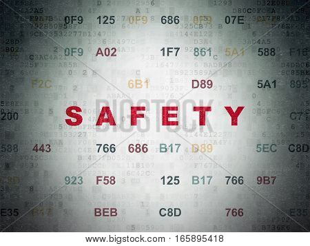Privacy concept: Painted red text Safety on Digital Data Paper background with Hexadecimal Code