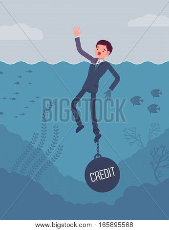 Businessman drowning chained with a weight Credit, having low credit score unable applying for credit cards, loans, mortgages. Cartoon flat-style concept illustration