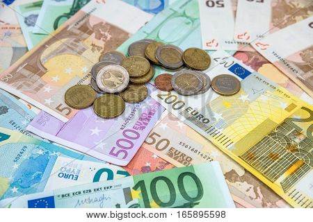 euro money - background with banknotes and coins