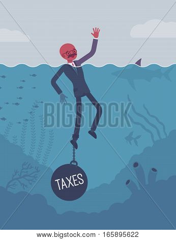 Businessman drowning chained with a weight Taxes, involved in tax affairs, high overall tax burden, small business seeking for supports of government. Cartoon flat-style concept illustration