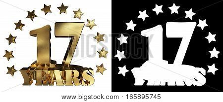 Golden digit seventeen and the word of the year decorated with stars. 3D illustration