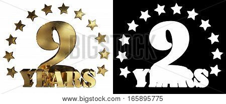 Golden digit nine and the word of the year decorated with stars. 3D illustration