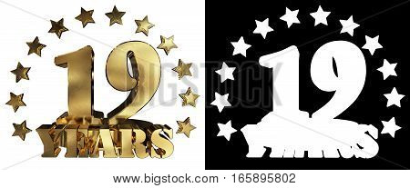 Golden digit nineteen and the word of the year decorated with stars. 3D illustration