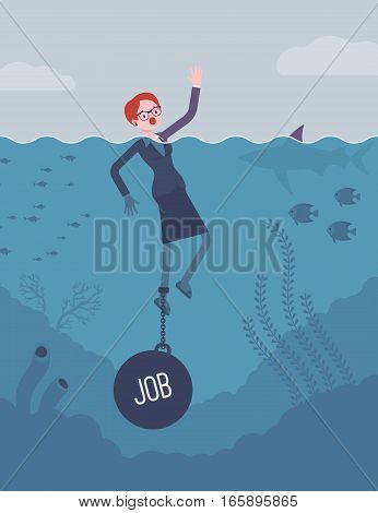 Businesswoman drowning chained with a weight Job, feeling chronic job strain, little freedom for private and family life, high-demanding post. Cartoon flat-style concept illustration