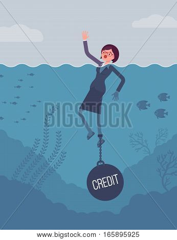 Businesswoman drowning chained with a weight Credit, having low credit score unable applying for credit cards, loans, mortgages. Cartoon flat-style concept illustration